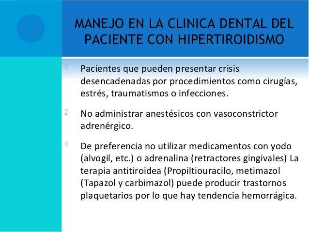 MANEJO EN LA CLINICA DENTAL DEL PACIENTE CON HIPERTIROIDISMO