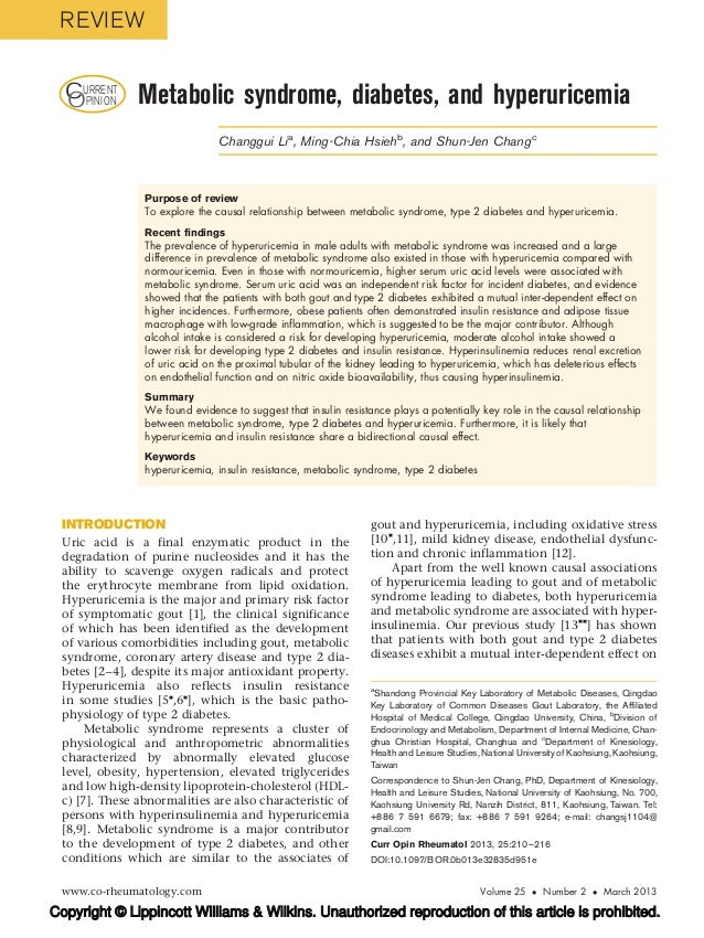REVIEW  CURRENT  OPINION      Metabolic syndrome, diabetes, and hyperuricemia                               Changgui Li a,...