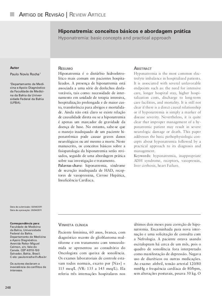 Artigo de revisão | review Article                                  Hiponatremia: conceitos básicos e abordagem prática   ...