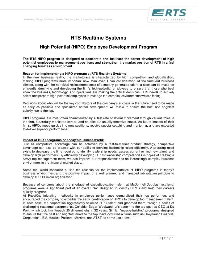 RTS Realtime Systems            High Potential (HIPO) Employee Development ProgramThe RTS HIPO program is designed to acce...