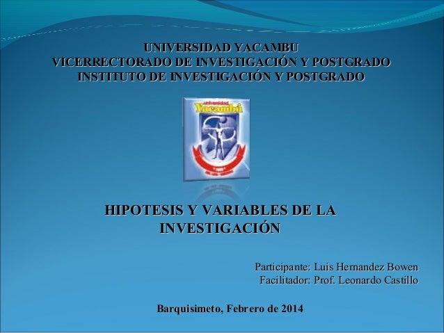 UNIVERSIDAD YACAMBU VICERRECTORADO DE INVESTIGACIÓN Y POSTGRADO INSTITUTO DE INVESTIGACIÓN Y POSTGRADO  HIPOTESIS Y VARIAB...