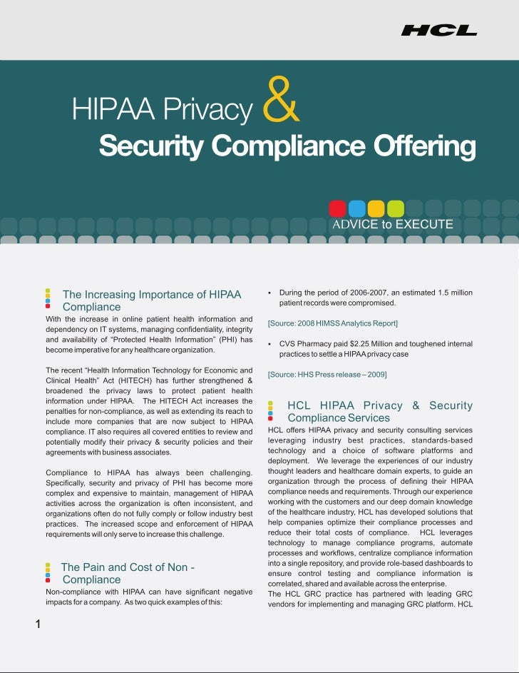 HCLT Brochure: HIPPA Privacy  Security Compliance Offering
