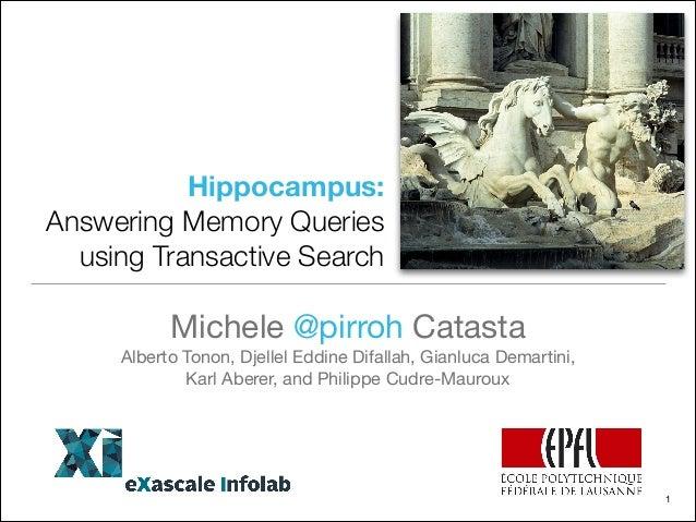 Hippocampus: Answering Memory Queries using Transactive Search Michele @pirroh Catasta  Alberto Tonon, Djellel Eddine Difa...