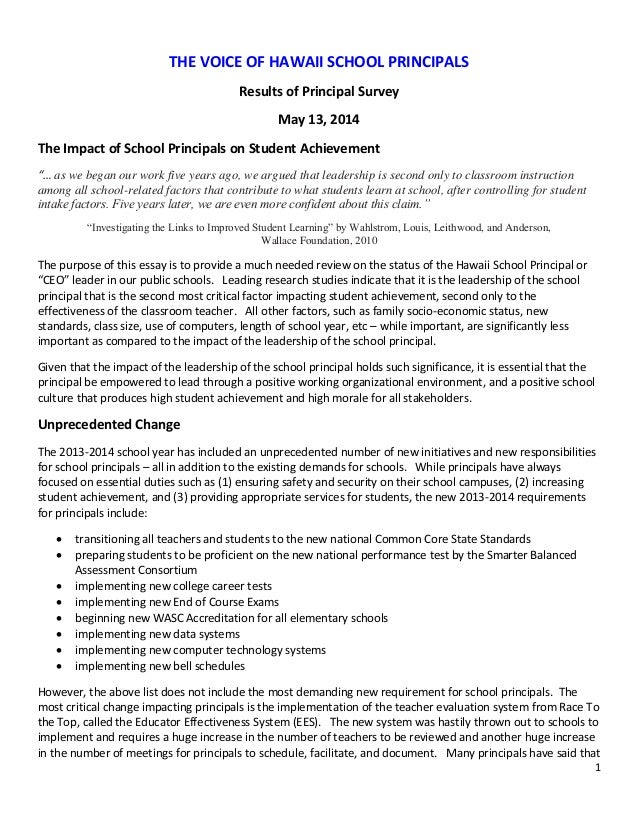 1 THE VOICE OF HAWAII SCHOOL PRINCIPALS Results of Principal Survey May 13, 2014 The Impact of School Principals on Studen...