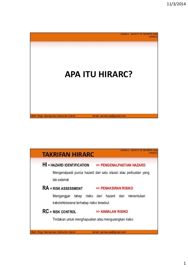 Hazard Identification, Risk Assessment and Risk Control (HIRARC) Malay version