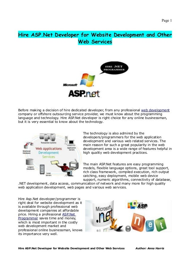 Page 1Hire ASP.Net Developer for Website Development and Other                      Web ServicesBefore making a decision o...