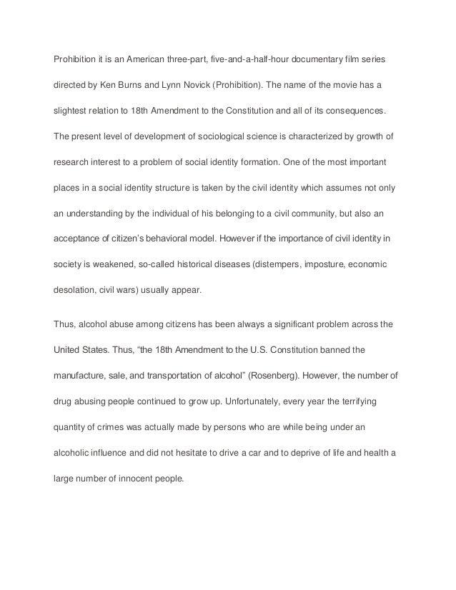 Essay on prohibition