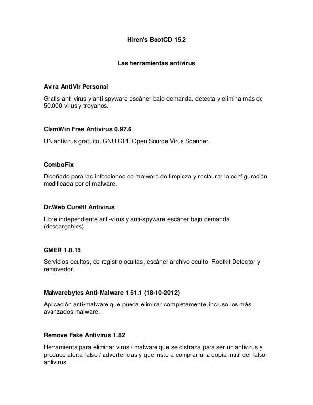 Hiren's BootCD 15.2  Las herramientas antivirus  Avira AntiVir Personal  Gratis anti-virus y anti-spyware escáner bajo dem...