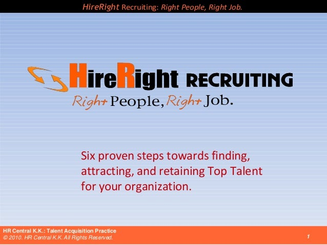 HireRight Recruiting: Right People, Right Job.  Six proven steps towards finding, attracting, and retaining Top Talent for...