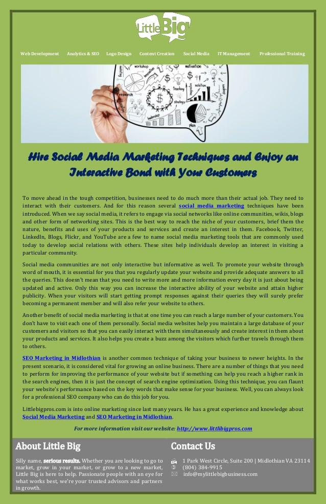 Hire Social Media Marketing Techniques and Enjoy an Interactive Bond with Your Customers
