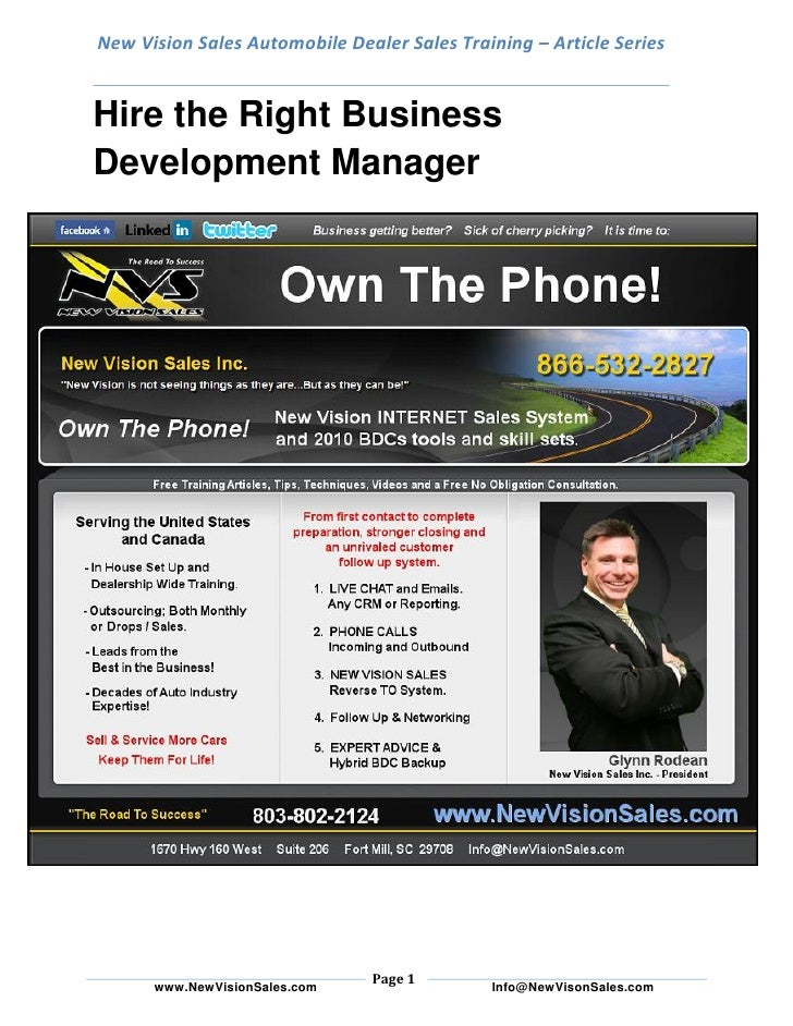 New Vision Sales Automobile Dealer Sales Training – Article Series   Hire the Right Business Development Manager          ...