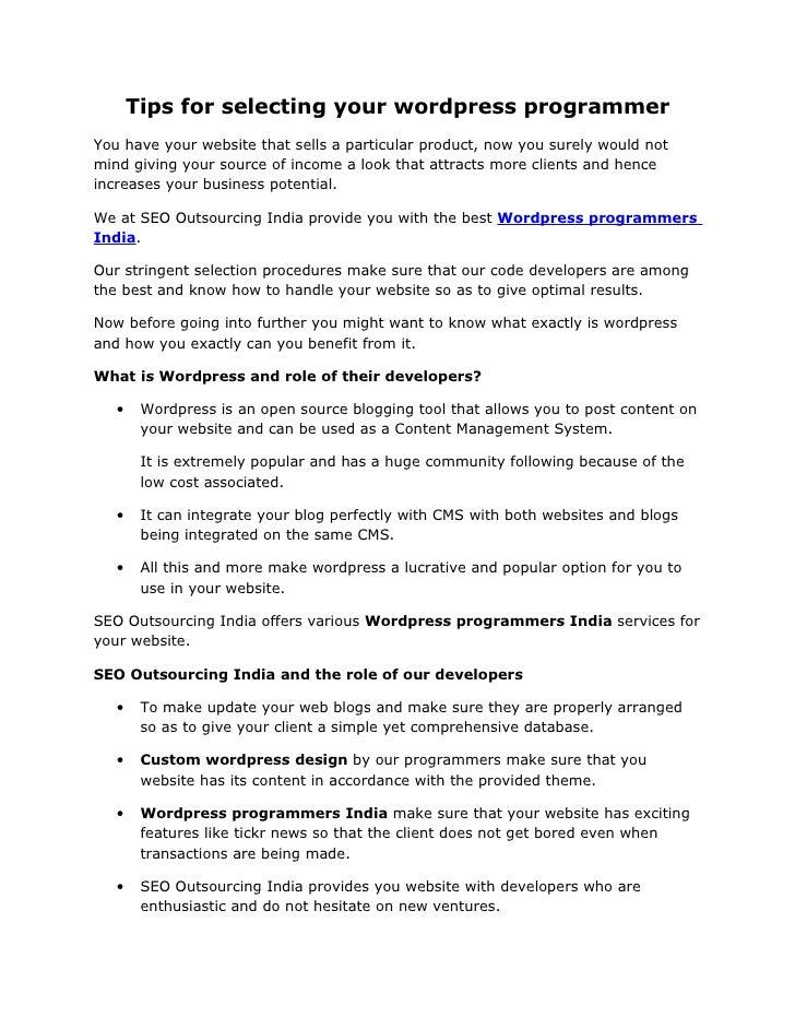 Hire word press developer  dedicated wordpress developer  hire wordpress experts team  seo outsourcing india