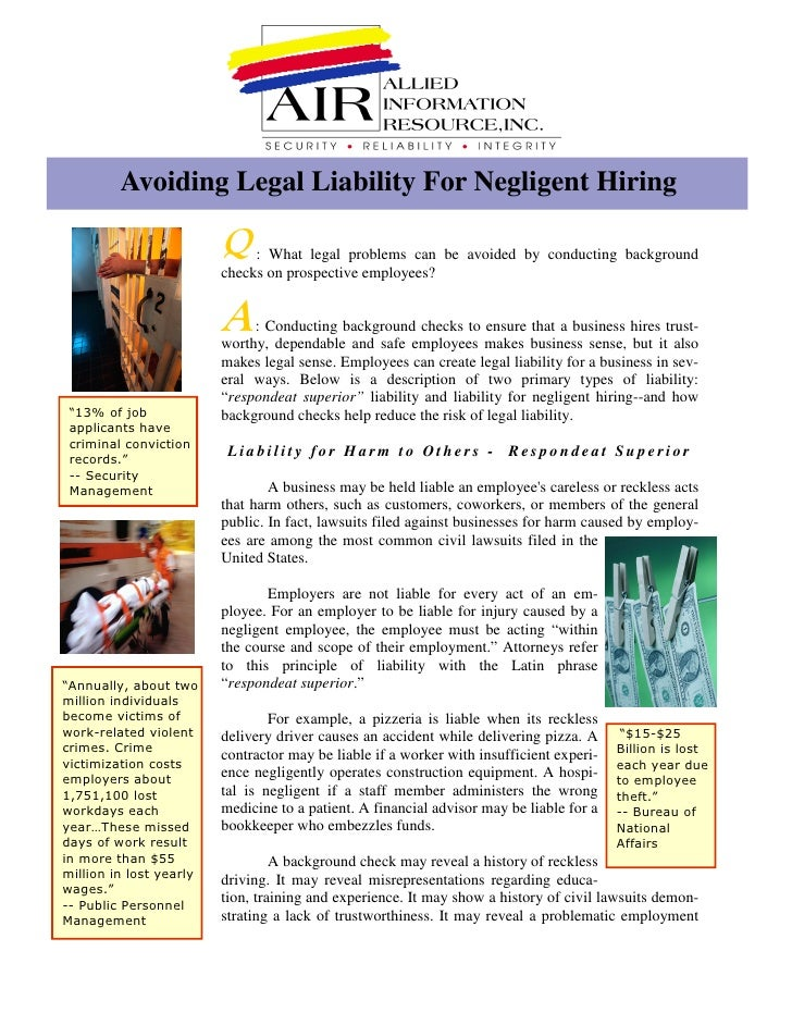 Avoiding Legal Liability For Negligent Hiring                             : What legal problems can be avoided by conducti...