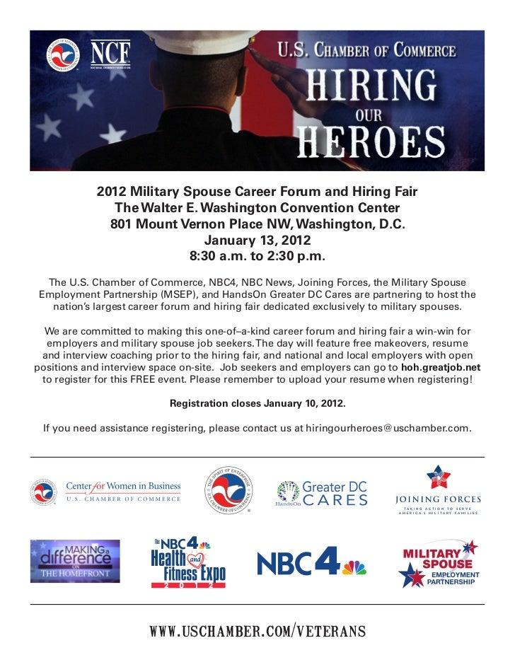 2012 Military Spouse Career Forum and Hiring Fair               The Walter E. Washington Convention Center              80...