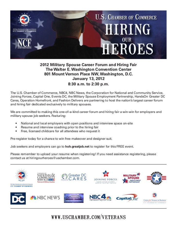 2012 Military Spouse Career Forum and Hiring Fair                                                   The Walter E. Washingt...