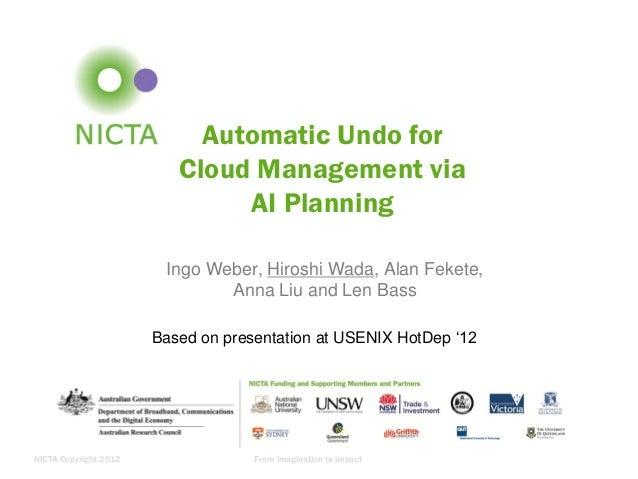Automatic Undo for Cloud Management via AI Planning