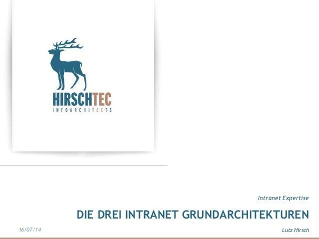 DIE DREI INTRANET GRUNDARCHITEKTUREN Intranet Expertise Lutz Hirsch16/07/14