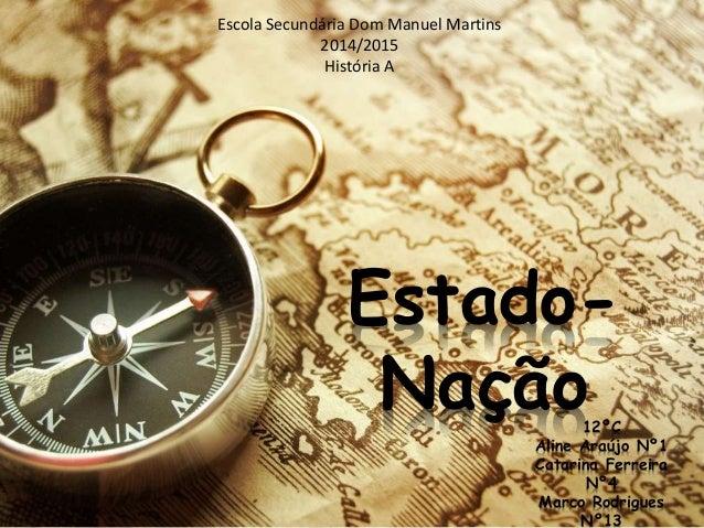 Estado- Nação Escola Secundária Dom Manuel Martins 2014/2015 História A 12ºC Aline Araújo Nº1 Catarina Ferreira Nº4 Marco ...
