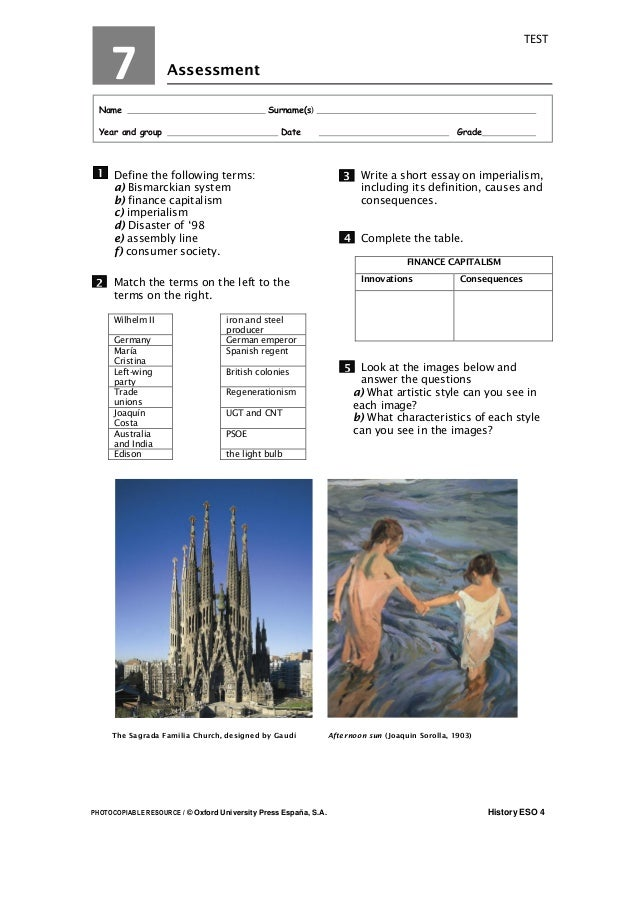 PHOTOCOPIABLE RESOURCE / © Oxford University Press España, S.A. History ESO 4 TEST Assessment Name Surname(s) l Year and g...