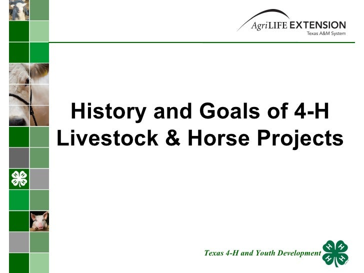 History and Goals of 4-H Livestock & Horse Projects Texas 4-H and Youth Development