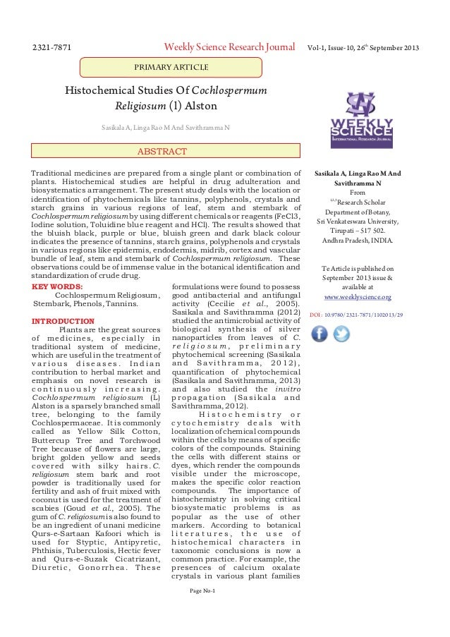 2321-7871  Weekly Science Research Journal  Vol-1, Issue-10, 26th September 2013  Primary Article  Histochemical Studies O...