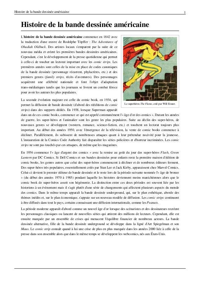 Histoire de la bande dessin€e am€ricaine  Histoire de la bande dessin€e am€ricaine L'histoire de la bande dessin€e am€rica...