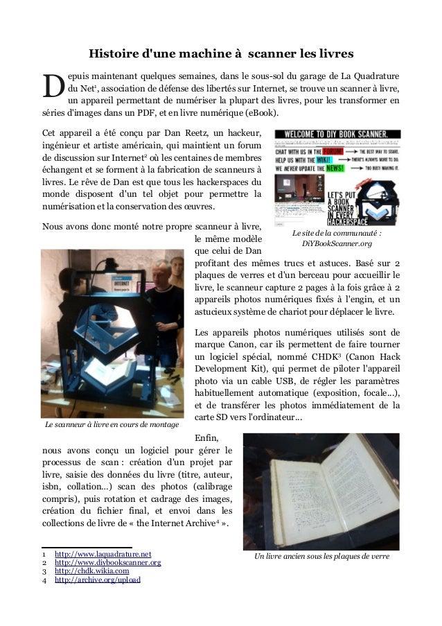 Atelier BookScanner - La Quadrature (26/10/2013)