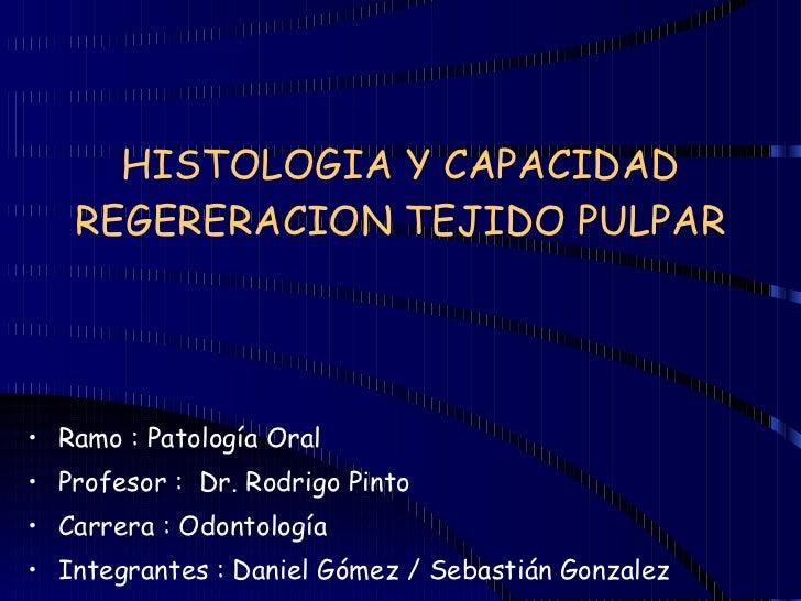 HISTOLOGIA Y CAPACIDAD REGERERACION TEJIDO PULPAR <ul><li>Ramo : Patología Oral </li></ul><ul><li>Profesor :  Dr. Rodrigo ...