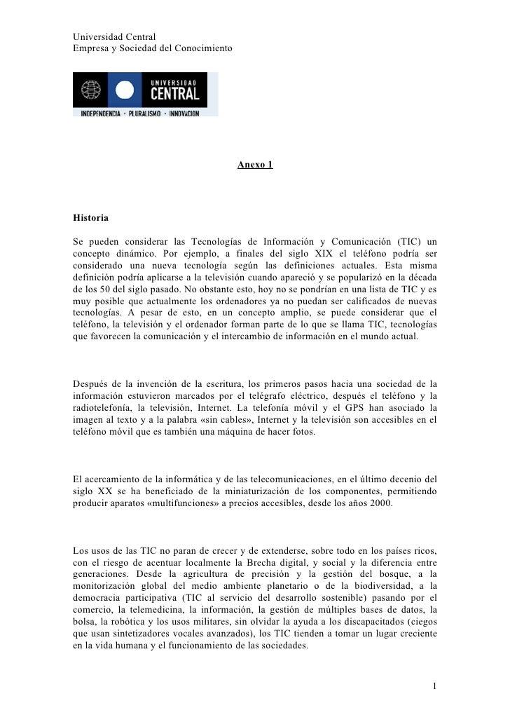 Universidad Central Empresa y Sociedad del Conocimiento                                             Anexo 1     Historia  ...