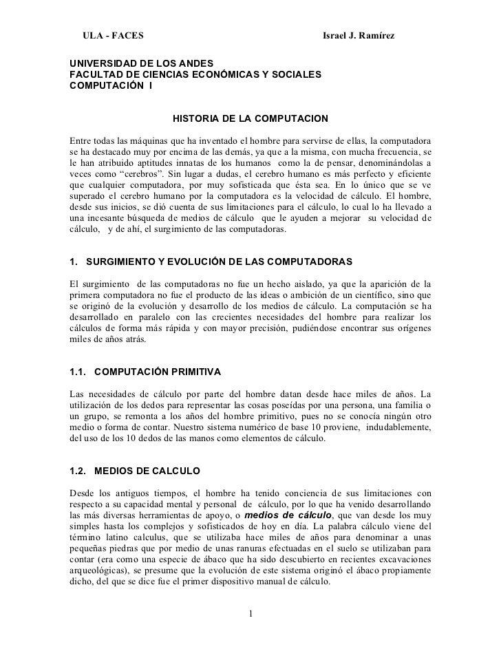 ULA - FACES                                                  Israel J. RamírezUNIVERSIDAD DE LOS ANDESFACULTAD DE CIENCIAS...