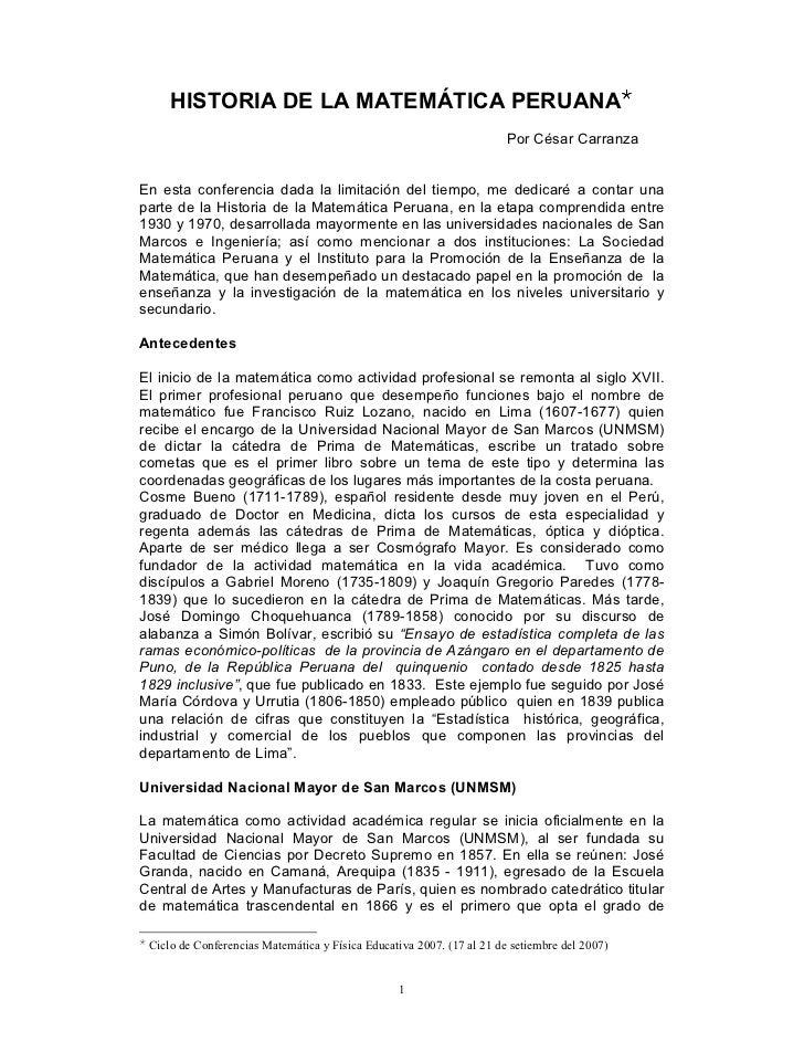 HISTORIA DE LA MATEMÁTICA PERUANA                                                                        Por César Carranz...