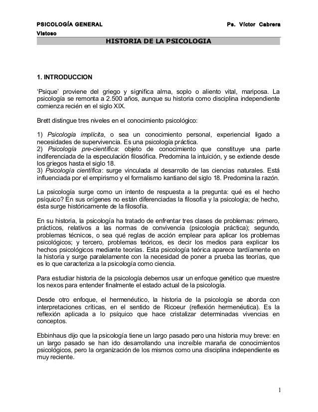 PSICOLOGÍA GENERAL                                                   Ps. Víctor CabreraVistoso                         HIS...