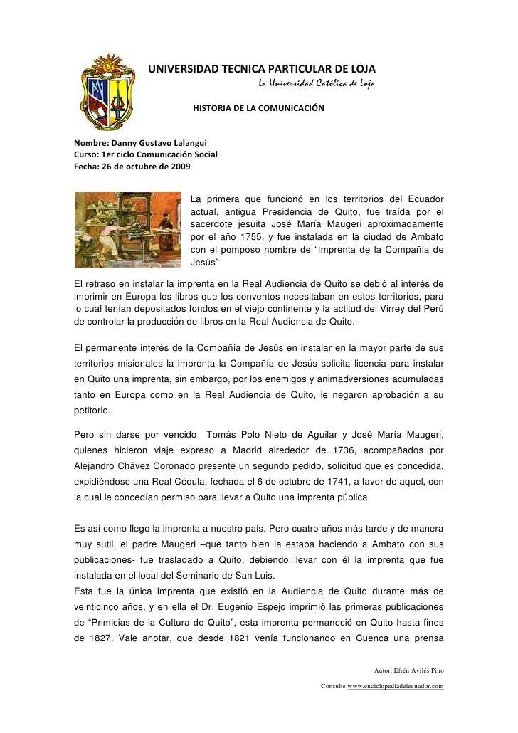 24765-185420UNIVERSIDAD TECNICA PARTICULAR DE LOJA<br />La Universidad Católica de Loja<br />HISTORIA DE LA COMUNICACIÓN <...