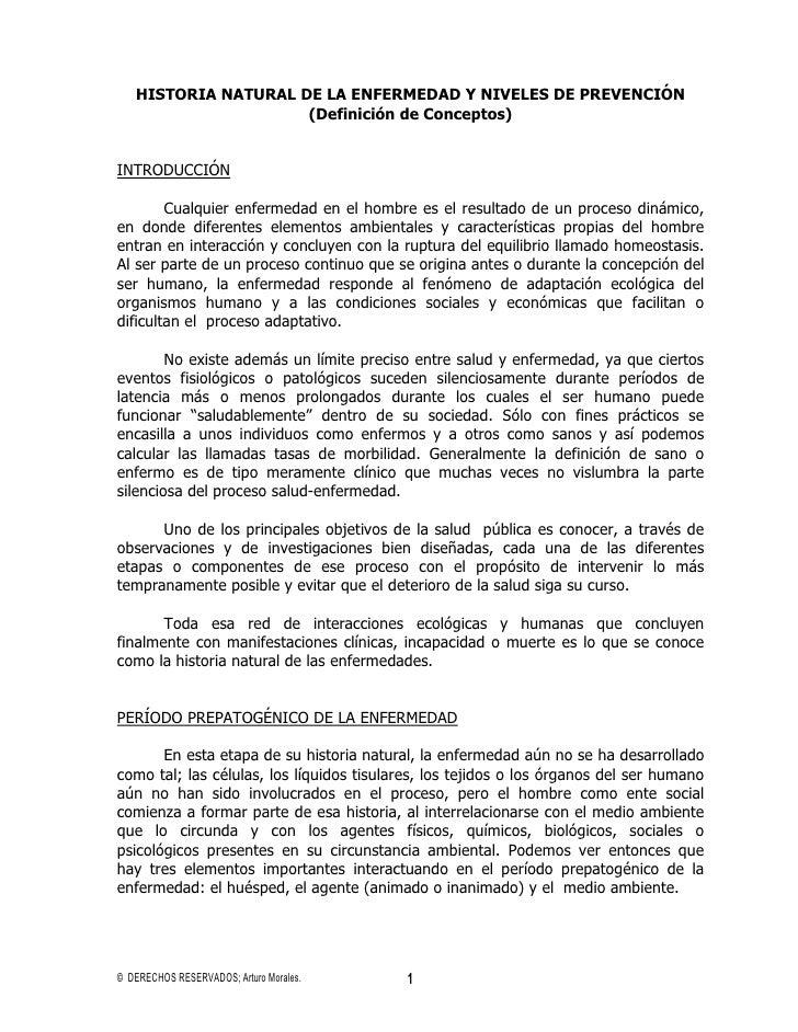 HISTORIA NATURAL DE LA ENFERMEDAD Y NIVELES DE PREVENCIÓN                     (Definición de Conceptos)INTRODUCCIÓN       ...