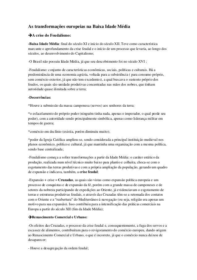 Baixa Idade Média, Idade Moderna e Colônia portuguesa