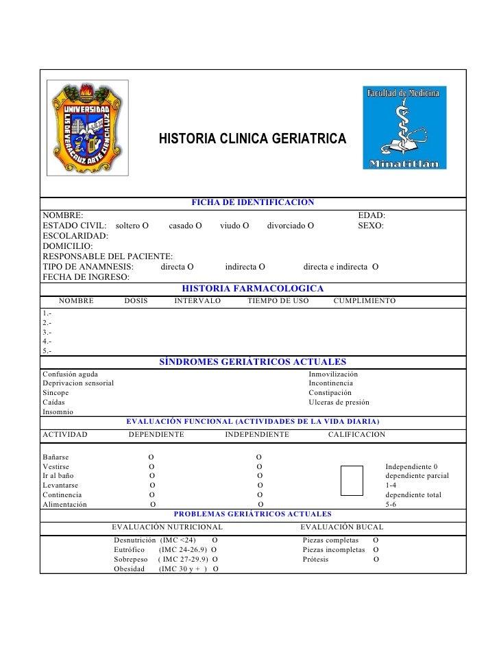 HISTORIA CLINICA GERIATRICA                                 FICHA DE IDENTIFICACIONNOMBRE:                                ...