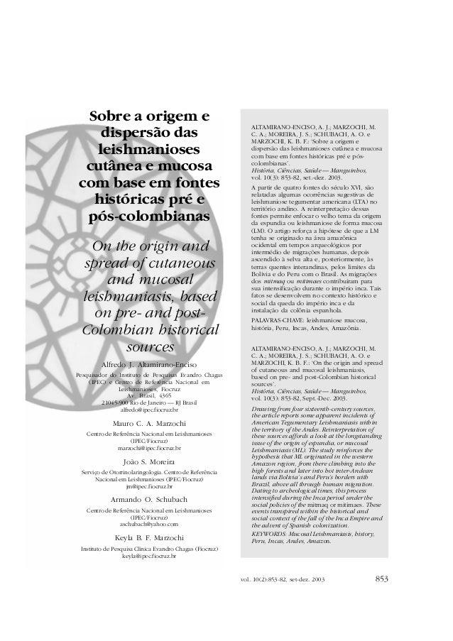 vol. 10(3):853-82, set-dez. 2003 853 SOBRE A ORIGEM E DISPERSÃO DAS LEISHMANIOSES vol. 10(2):853-82, set-dez. 2003 Sobre a...