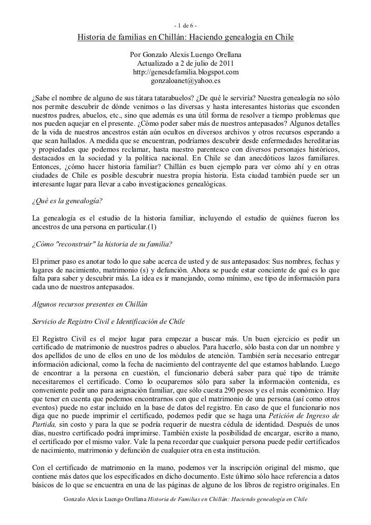 Historia de familias en Chillán: Haciendo genealogía en Chile