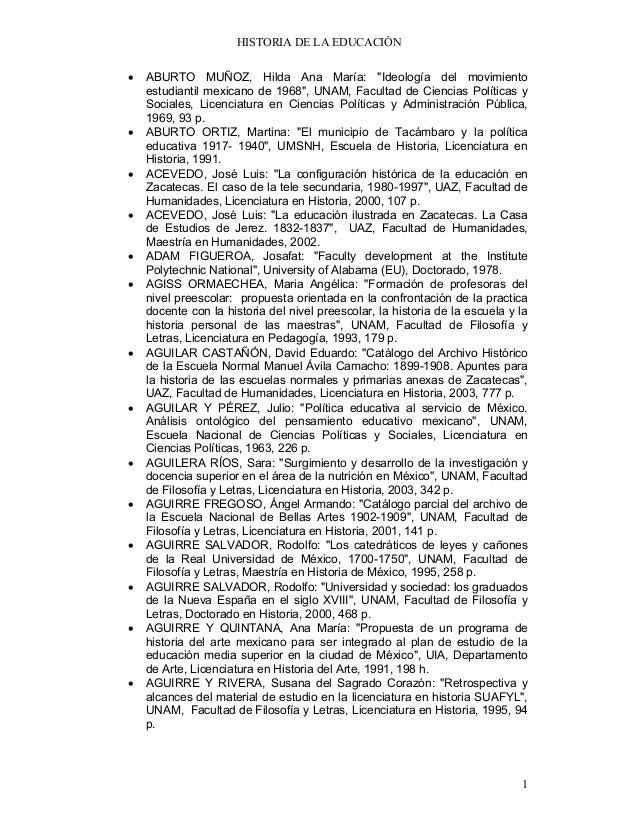 """HISTORIA DE LA EDUCACIÓN•   ABURTO MUÑOZ, Hilda Ana María: """"Ideología del movimiento    estudiantil mexicano de 1968"""", UNA..."""