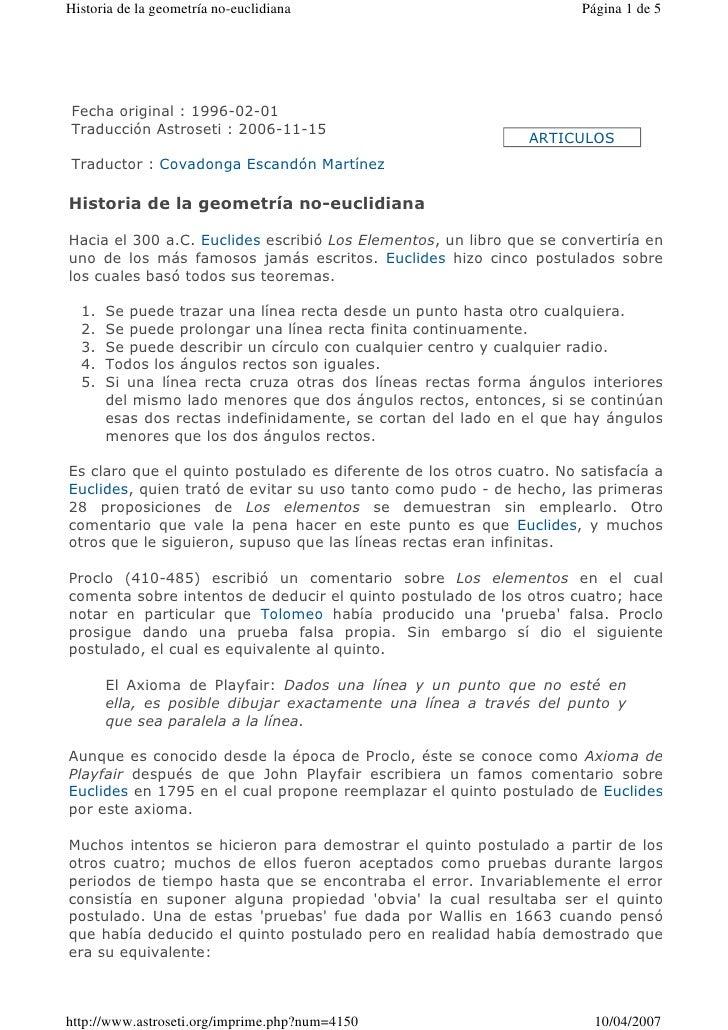 Historia de la geometría no-euclidiana                                Página 1 de 5Fecha original : 1996-02-01Traducción A...
