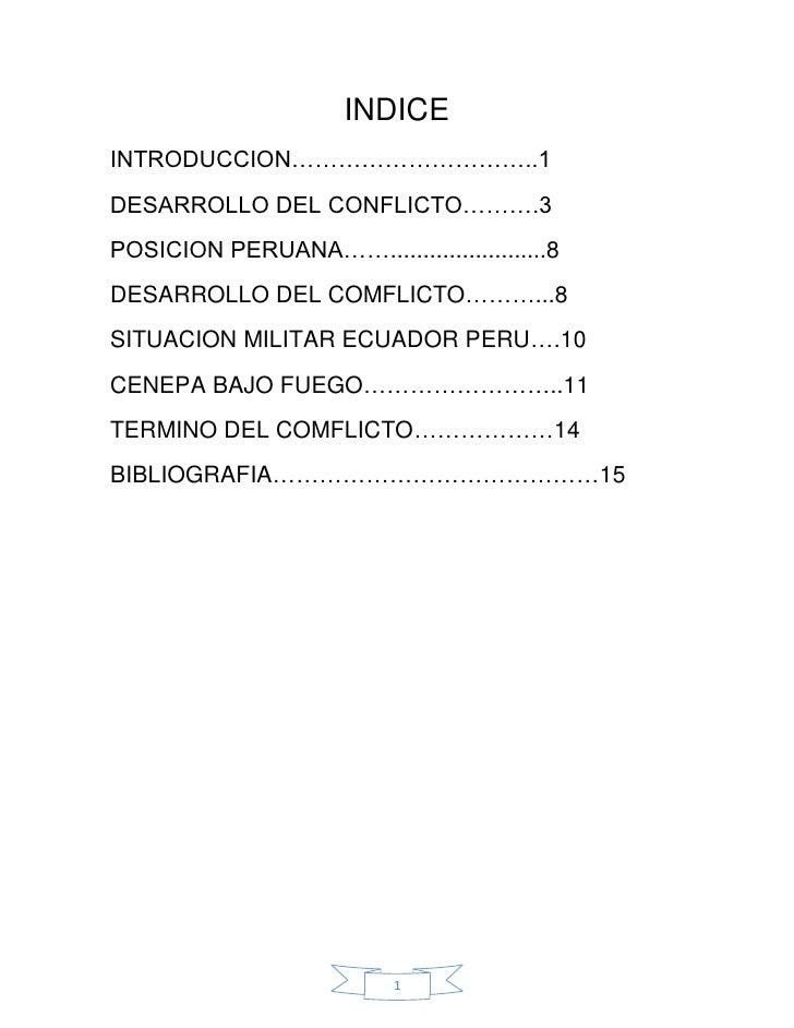 INDICEINTRODUCCION…………………………..1DESARROLLO DEL CONFLICTO……….3POSICION PERUANA……........................8DESARROLLO DEL COMF...