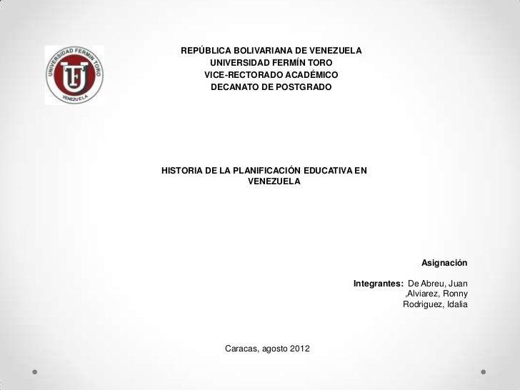 REPÚBLICA BOLIVARIANA DE VENEZUELA        UNIVERSIDAD FERMÍN TORO       VICE-RECTORADO ACADÉMICO        DECANATO DE POSTGR...