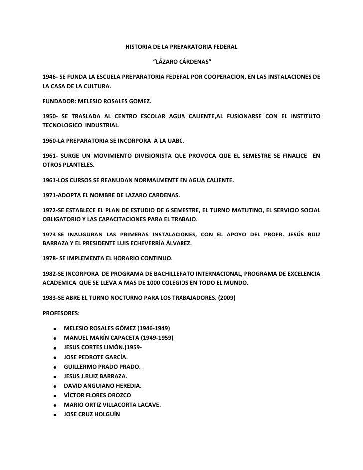 """HISTORIA DE LA PREPARATORIA FEDERAL<br /> """"LÁZARO CÁRDENAS""""<br />1946- SE FUNDA LA ESCUELA PREPARATORIA FEDERAL POR COOPER..."""