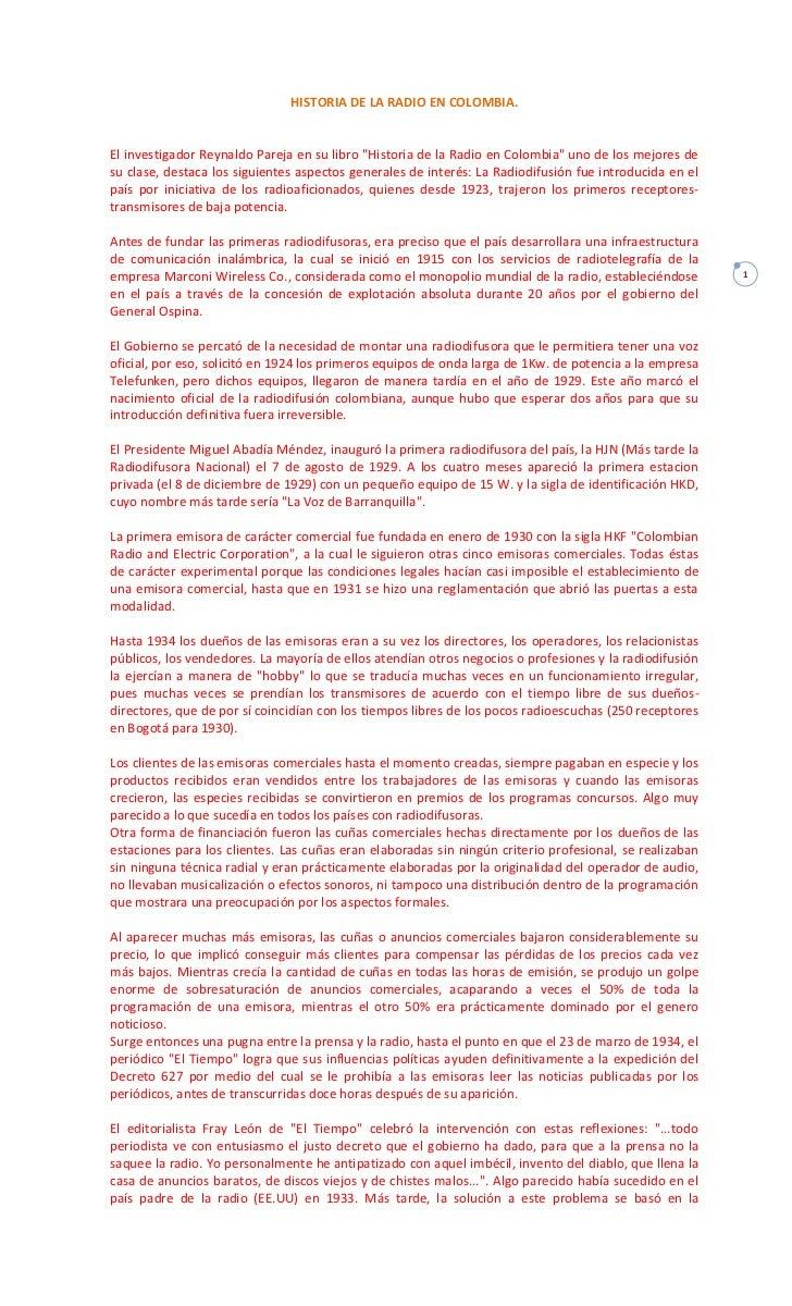 Historia de la radio en colombia.   línea de timepo