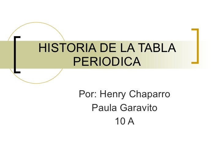 HISTORIA DE LA TABLA PERIODICA Por: Henry Chaparro Paula Garavito 10 A
