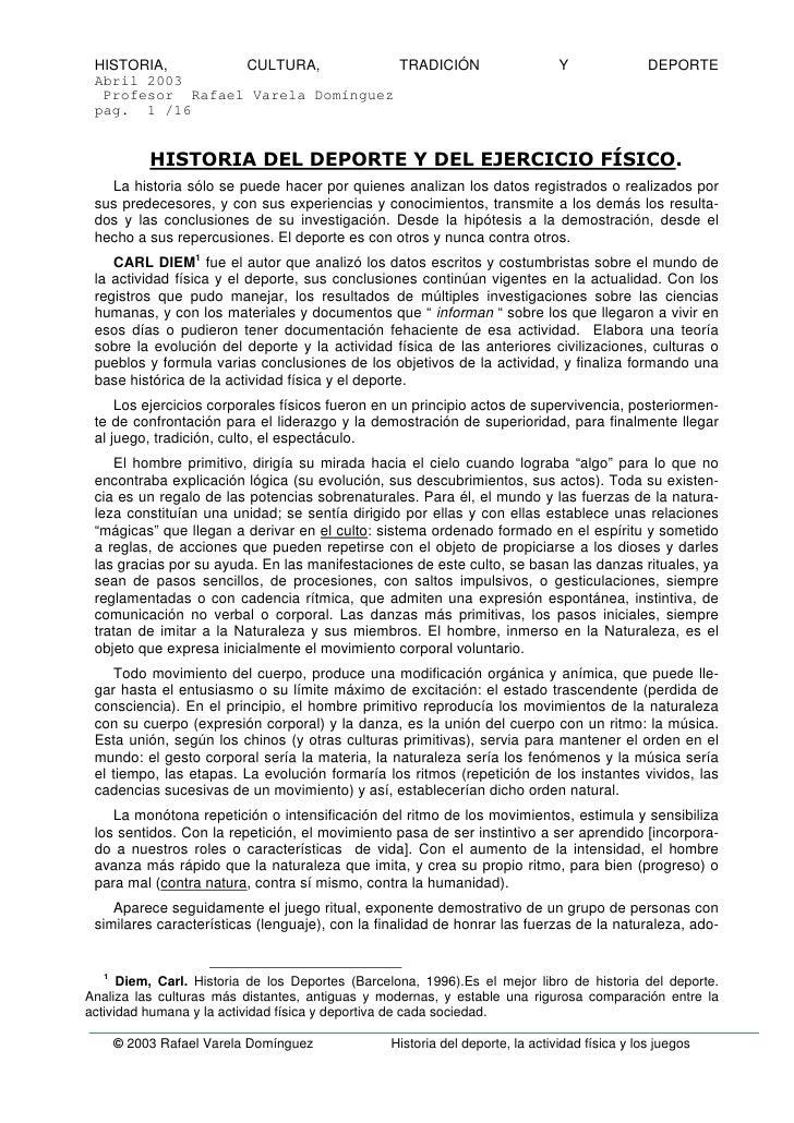 HISTORIA,       CULTURA,          TRADICIÓN                                   Y               DEPORTE  Abril 2003   Profes...