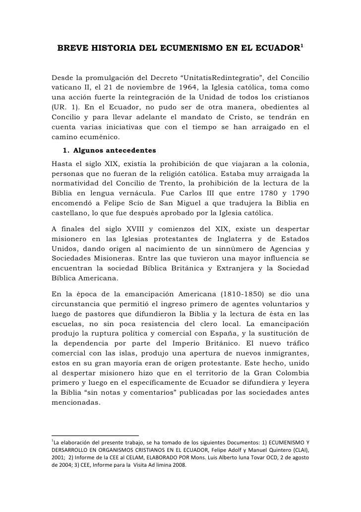"""BREVE HISTORIA DEL ECUMENISMO EN EL ECUADOR<br />Desde la promulgación del Decreto """"Unitatis Redintegratio"""", del Concilio ..."""