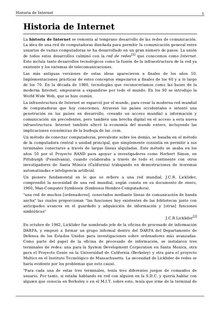 Historia de Internet                                                                                1   Historia de Intern...