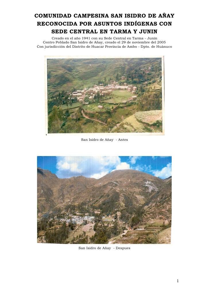 Historia De Los Proyectos De Huanuco-Añay