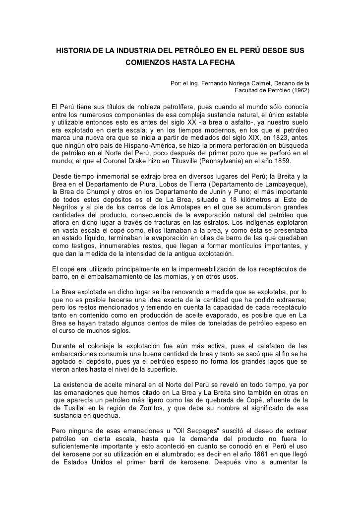 HISTORIA DE LA INDUSTRIA DEL PETRÓLEO EN EL PERÚ DESDE SUS                        COMIENZOS HASTA LA FECHA                ...